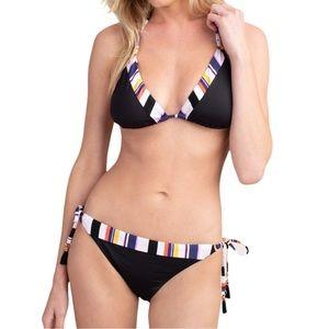Trina Turk Treasure Cove Tie Bikini Black Size 10